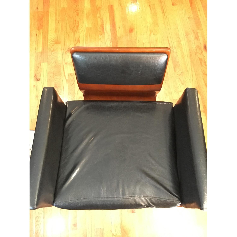 Black Leather & Wood Bar Stool - image-3