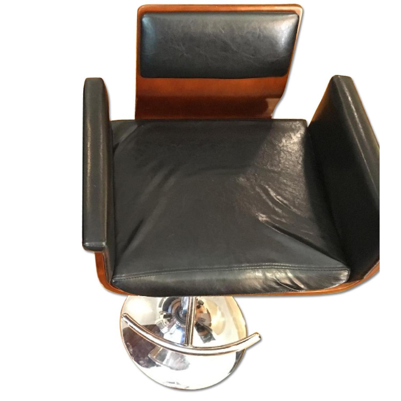 Black Leather & Wood Bar Stool - image-0
