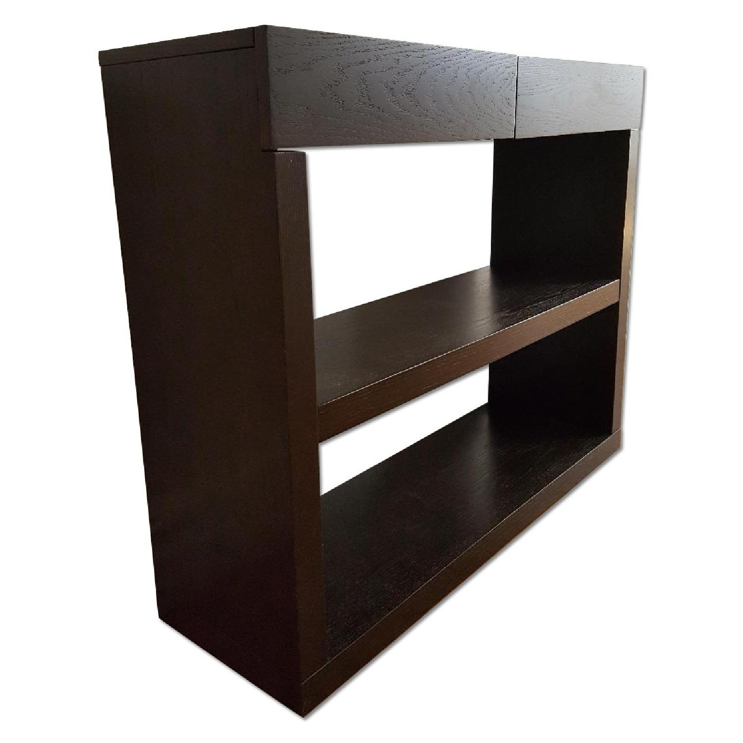 West Elm Narrow Dark Wood Console - image-0