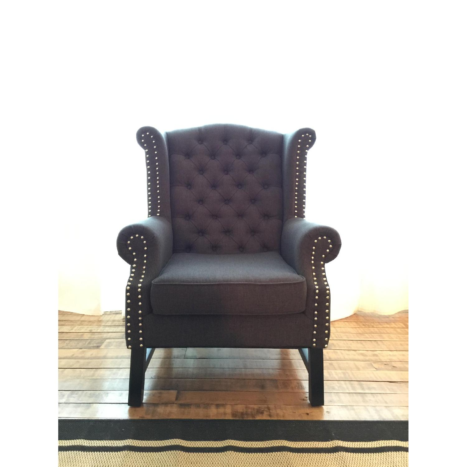 Baxton Studio Grey Linen Armchair w/ Nail Head Trim - image-1