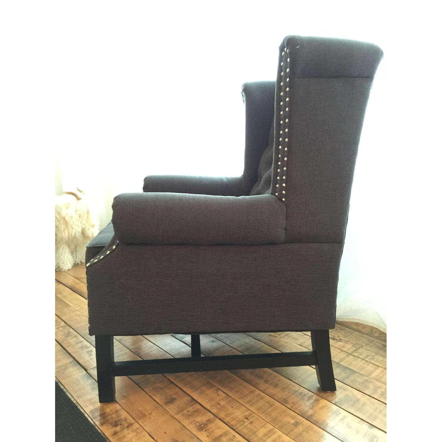 Baxton Studio Grey Linen Armchair w/ Nail Head Trim - image-2