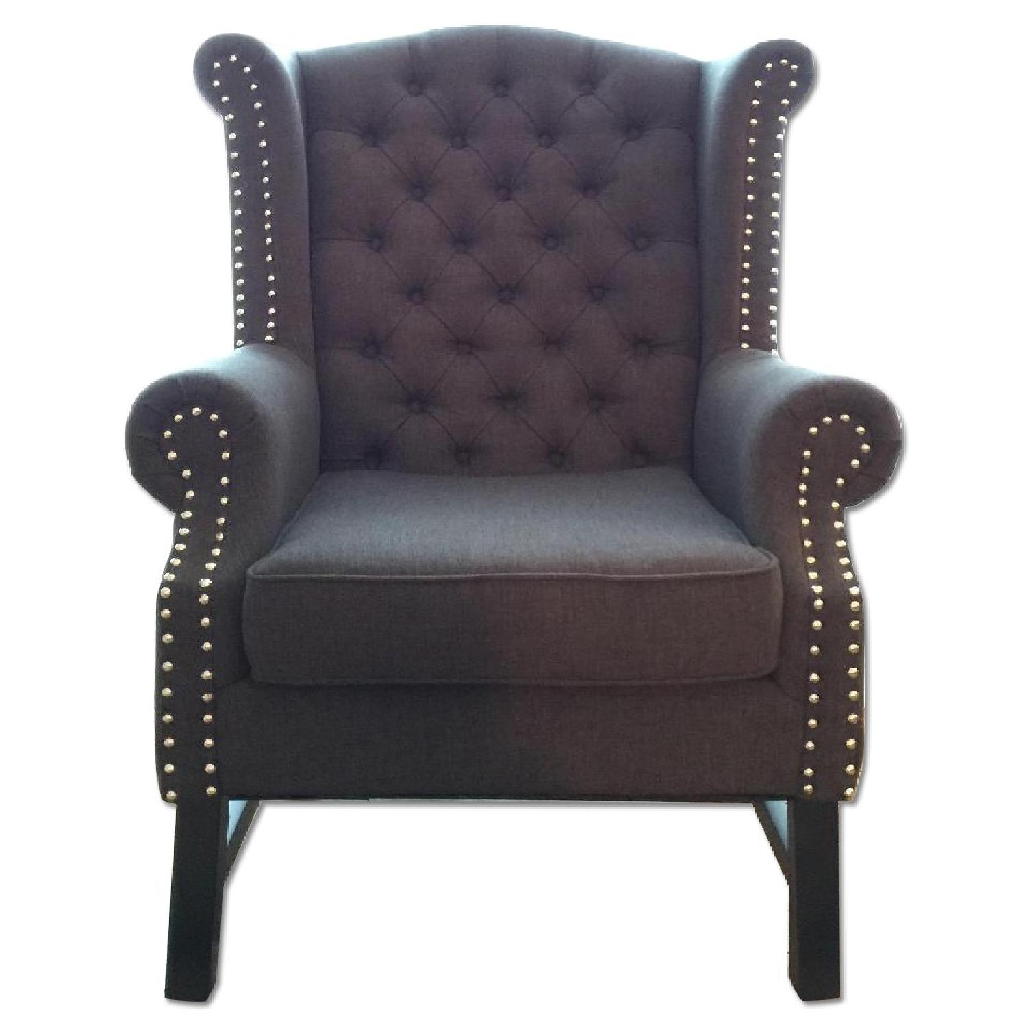 Baxton Studio Grey Linen Armchair w/ Nail Head Trim - image-0