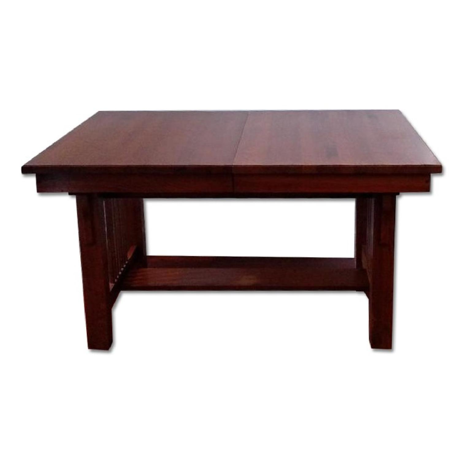 Solid Oak Mission Style Dining Table w/ 2 Self-Raising Leaves - image-0