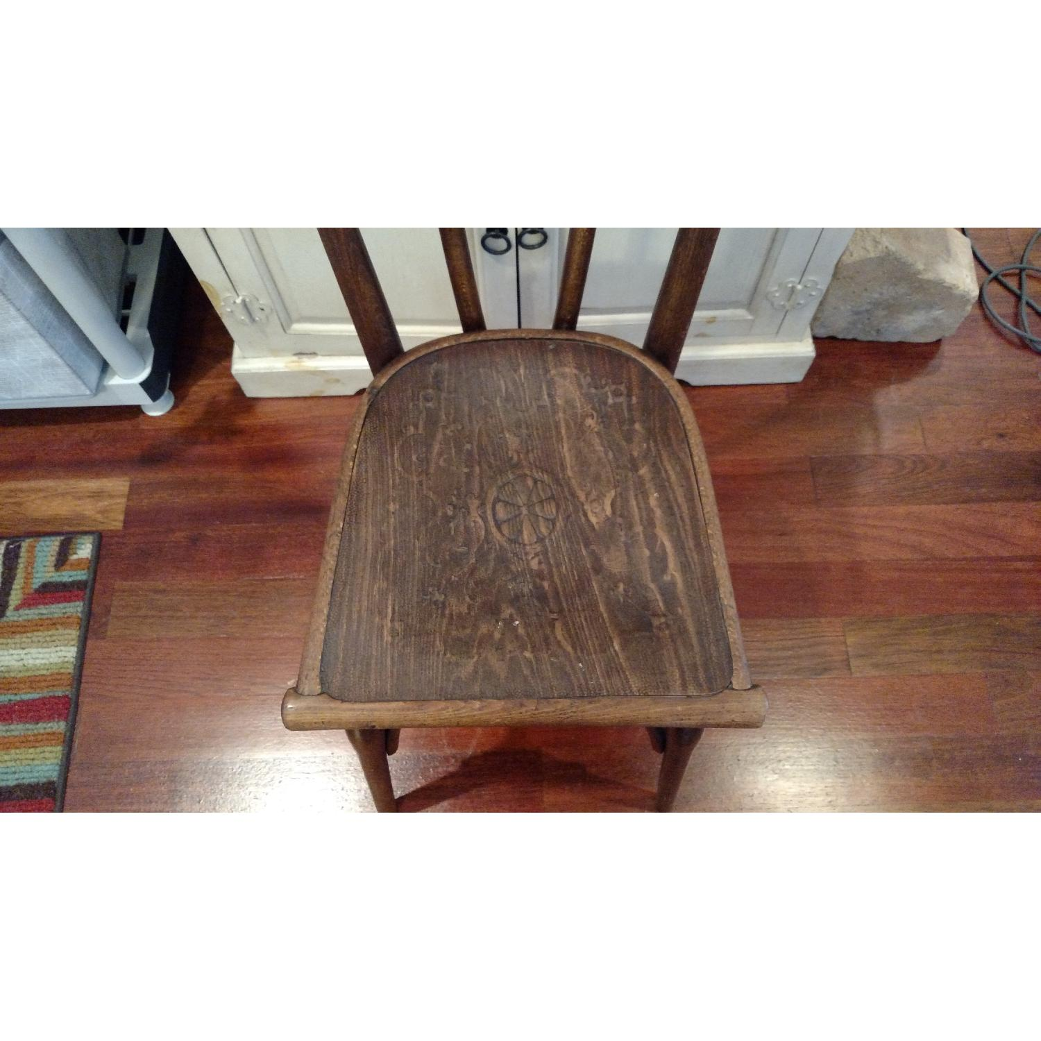 Thonet circa 1920s Bentwood Dining Chair w/ Floral Design Wood Seat - image-2