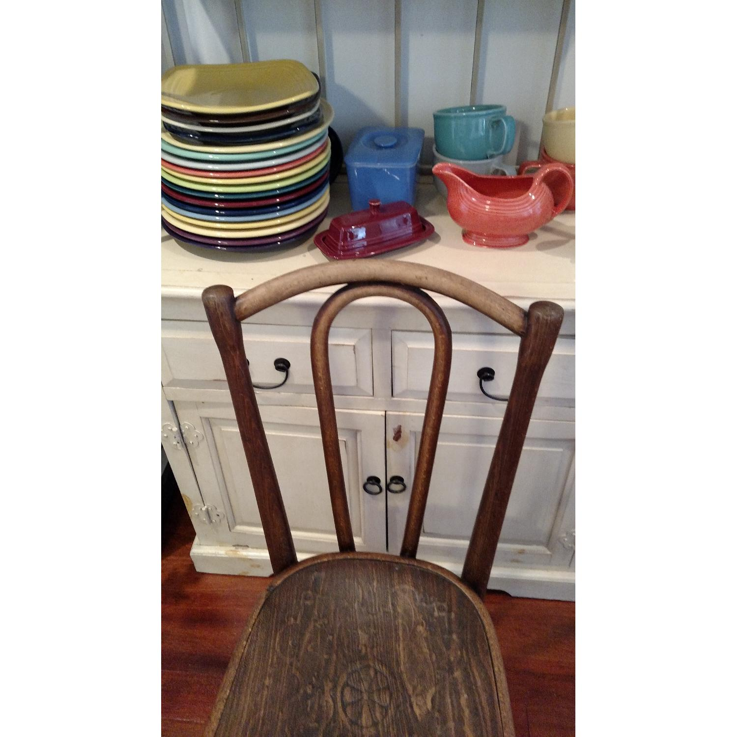 Thonet circa 1920s Bentwood Dining Chair w/ Floral Design Wood Seat - image-3