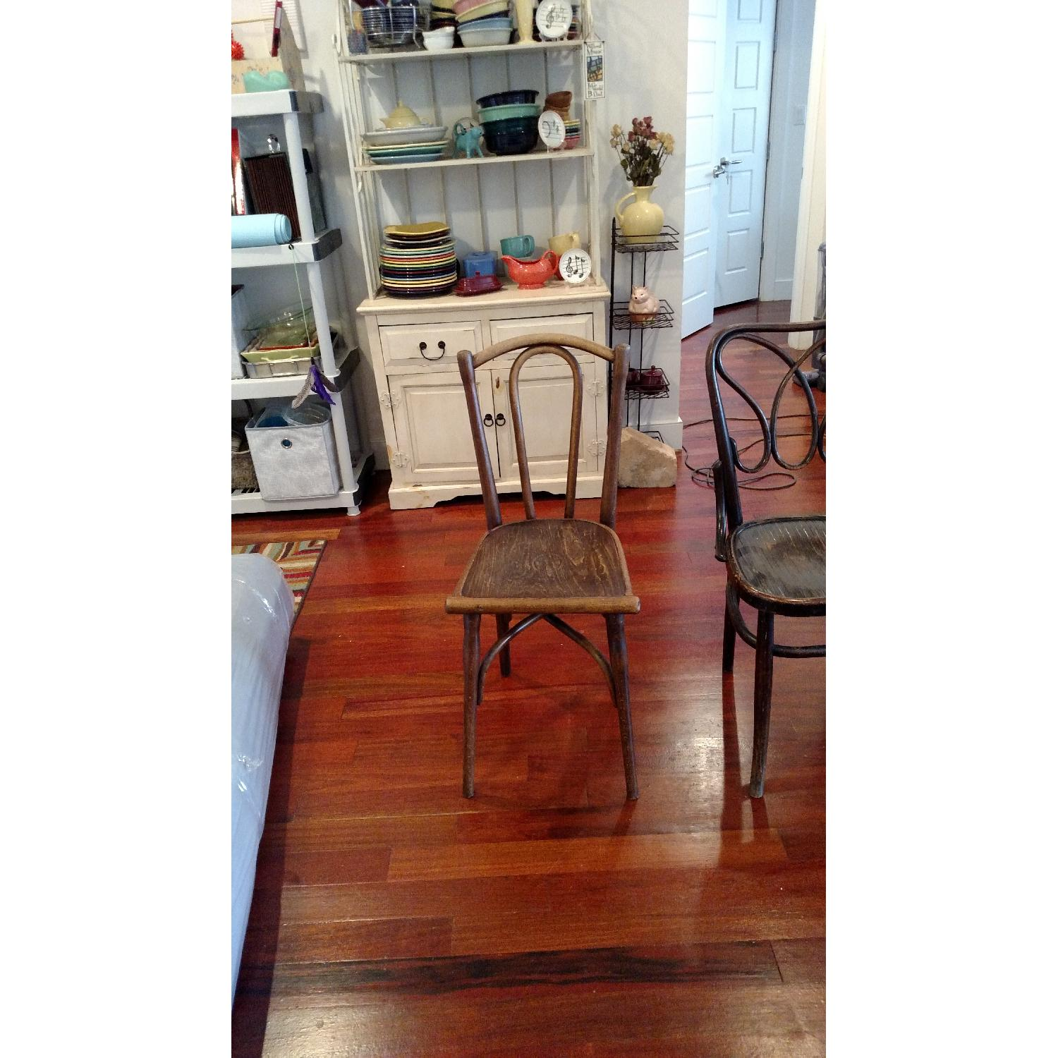 Thonet circa 1920s Bentwood Dining Chair w/ Floral Design Wood Seat - image-5