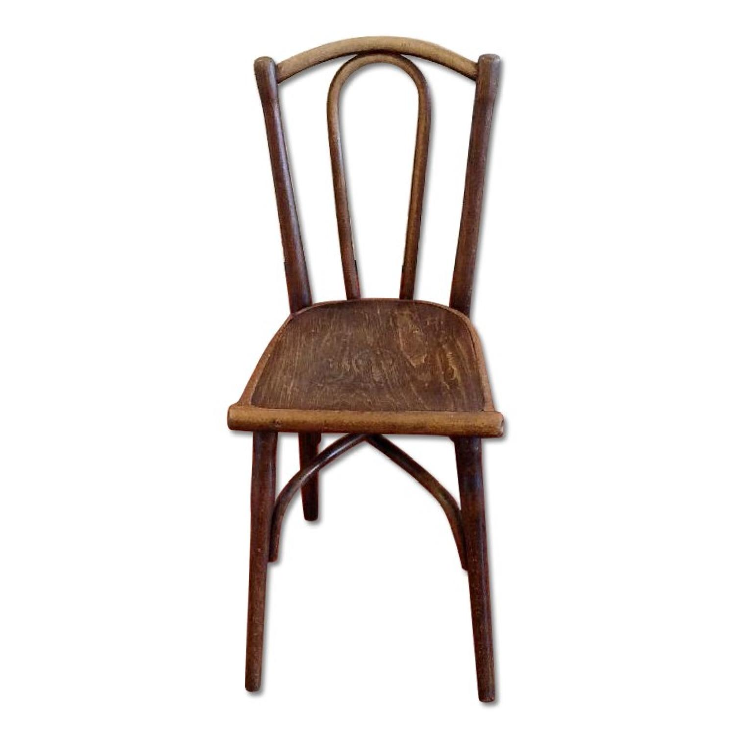 Thonet circa 1920s Bentwood Dining Chair w/ Floral Design Wood Seat - image-0