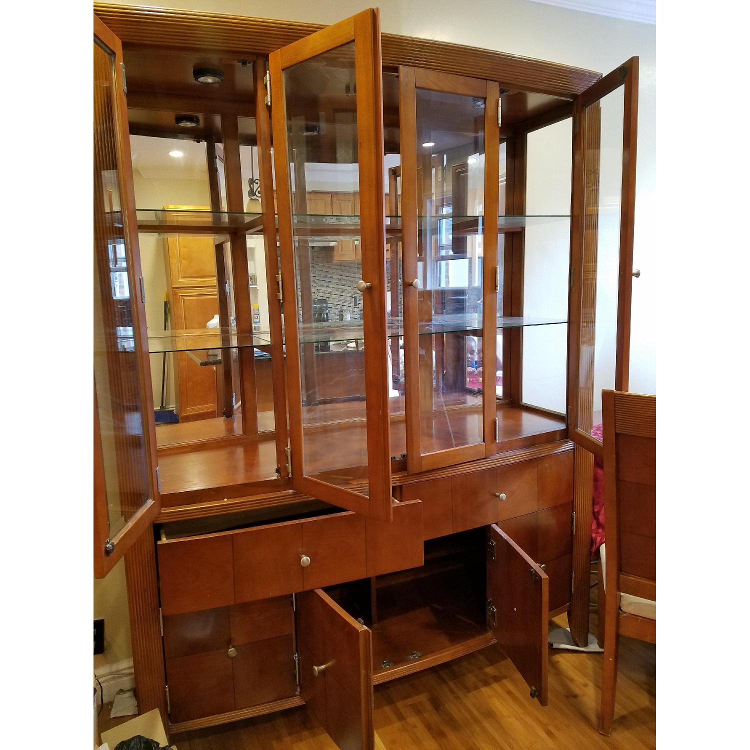 Dining Table w/ 4 Chairs + China Cabinet - image-1
