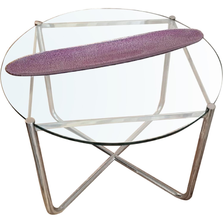 Knoll MR Chrome & Glass Side Table - image-0