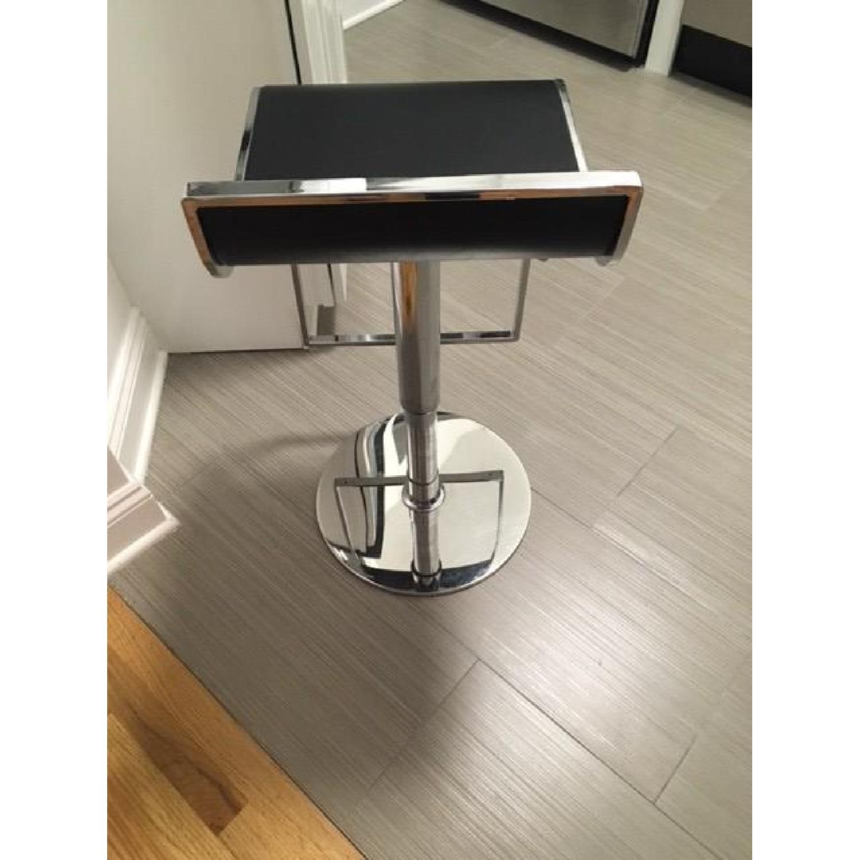 Chrome & Faux Leather Adjustable Bar Stool - image-4