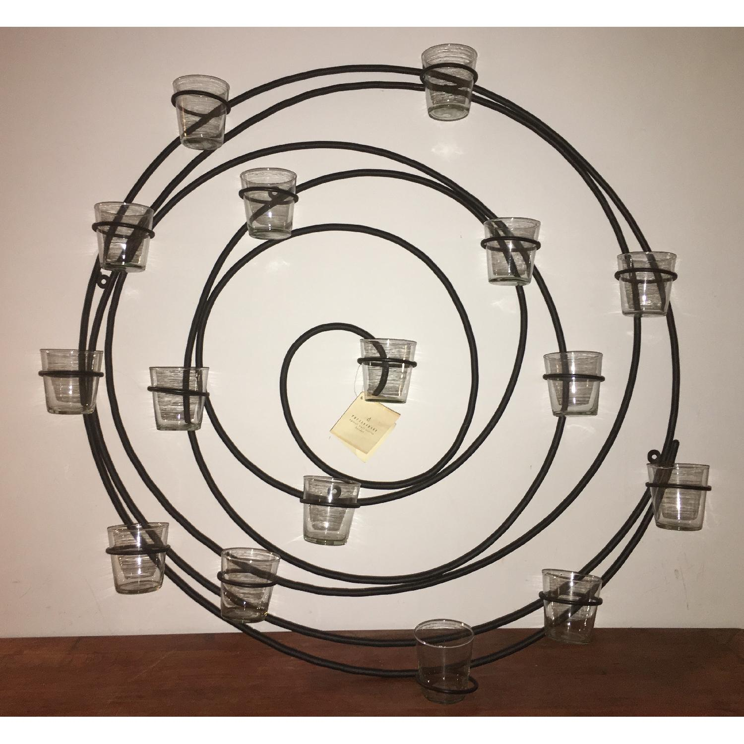 Pottery Barn Wrought Iron Spiral Wall Mount 16 Votive Candle Holder - image-1