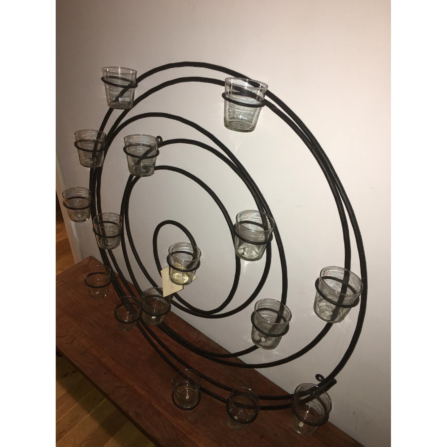 Pottery Barn Wrought Iron Spiral Wall Mount 16 Votive Candle Holder - image-2