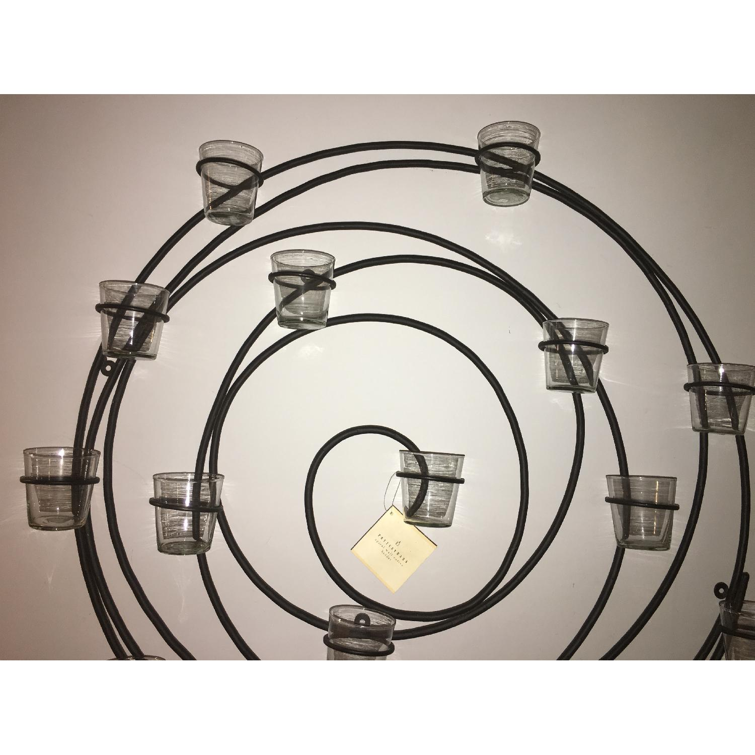 Pottery Barn Wrought Iron Spiral Wall Mount 16 Votive Candle Holder - image-3