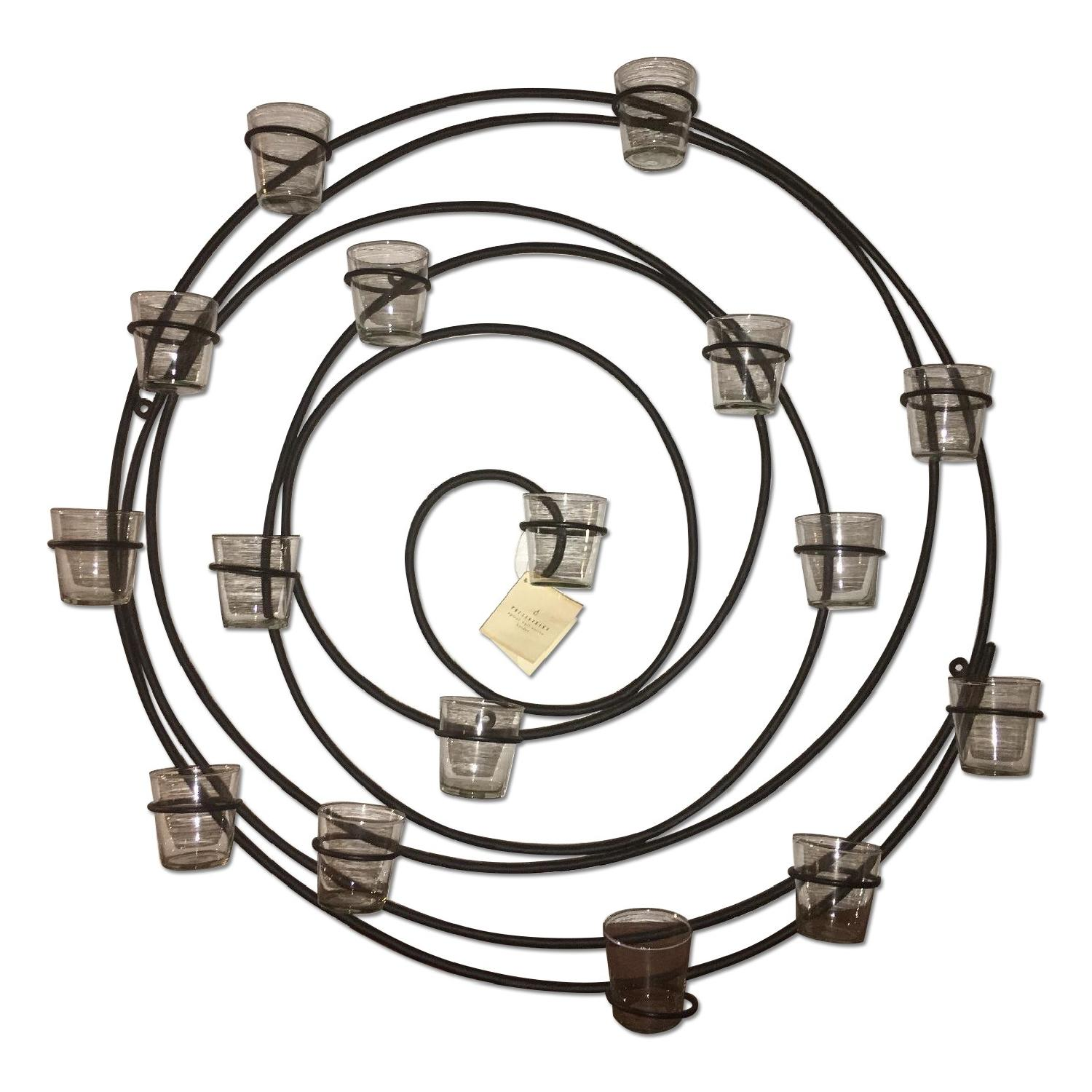Pottery Barn Wrought Iron Spiral Wall Mount 16 Votive Candle Holder - image-0