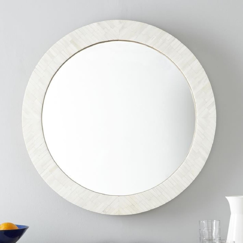West Elm Parsons Round Mirror w/ Bone Inlay - image-1