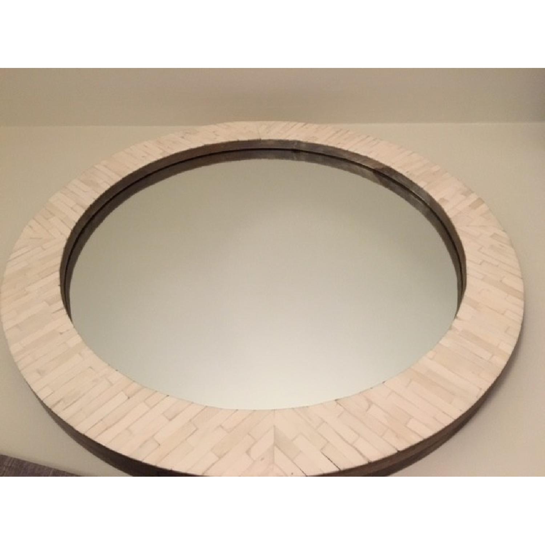 West Elm Parsons Round Mirror w/ Bone Inlay - image-2