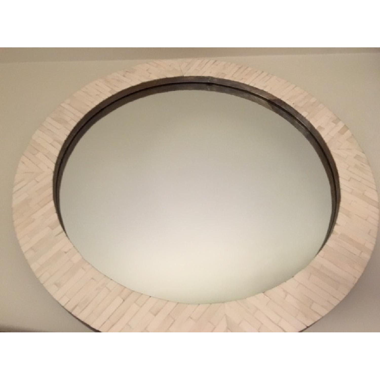 West Elm Parsons Round Mirror w/ Bone Inlay - image-3