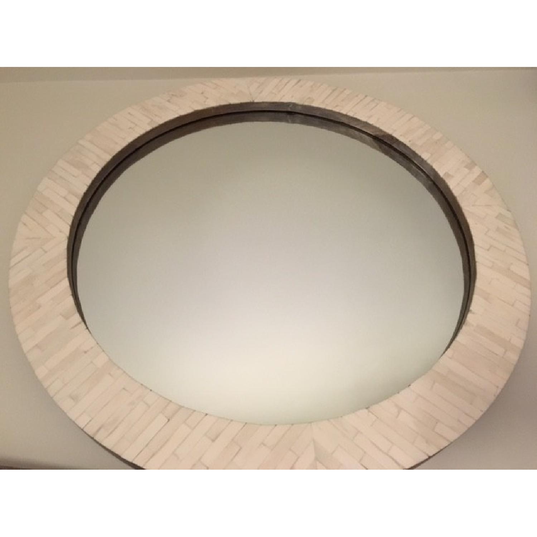 West Elm Parsons Round Mirror w/ Bone Inlay - image-4
