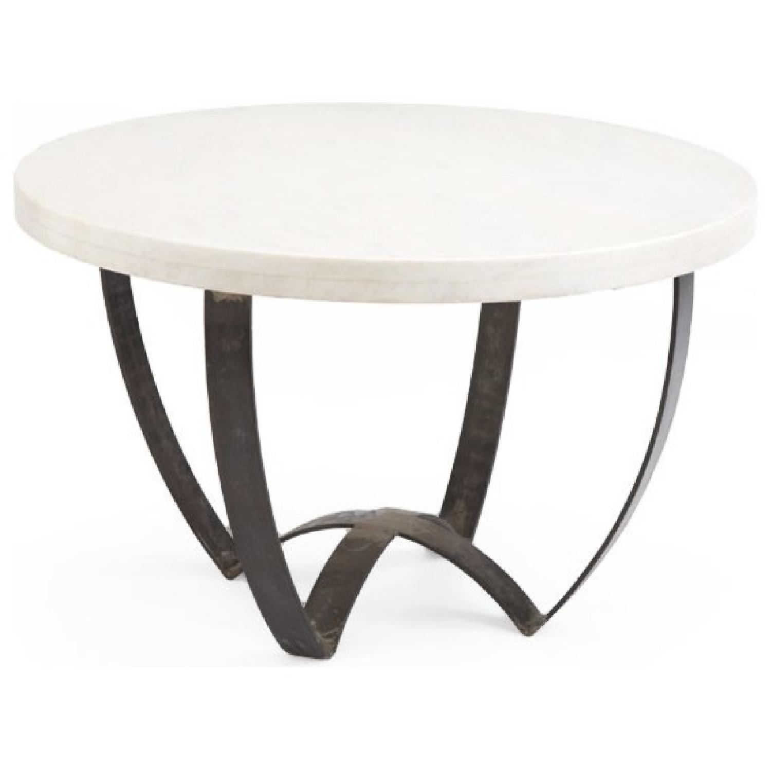 Marble Top Coffee Table w/ Metal Base - image-1