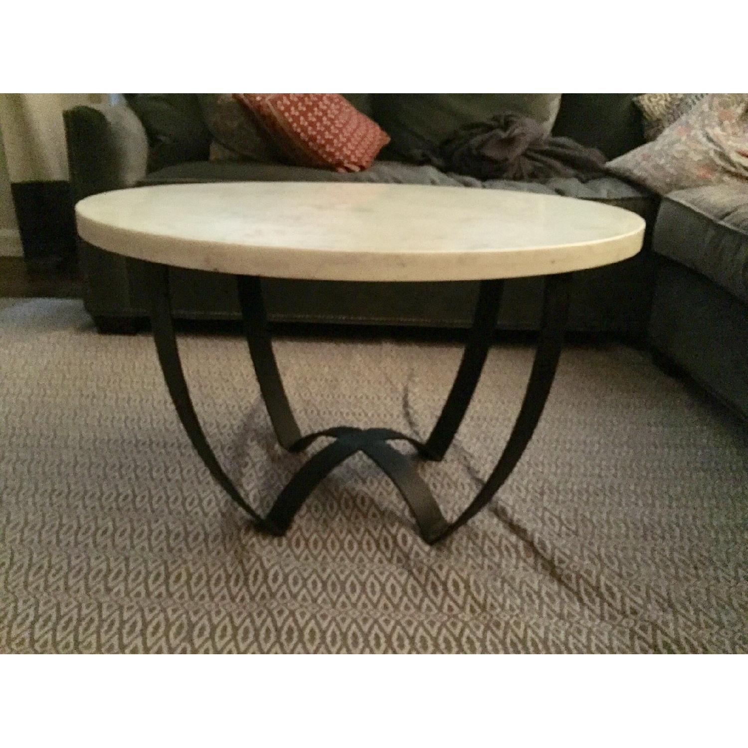 Marble Top Coffee Table w/ Metal Base - image-2