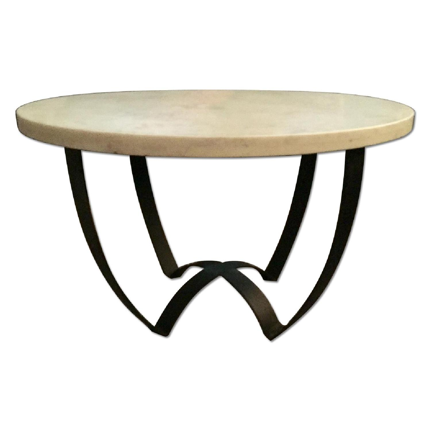 Marble Top Coffee Table w/ Metal Base - image-0