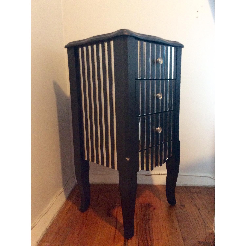 Oriel 3-Drawer Grey Mirror Striped Side Table - image-1