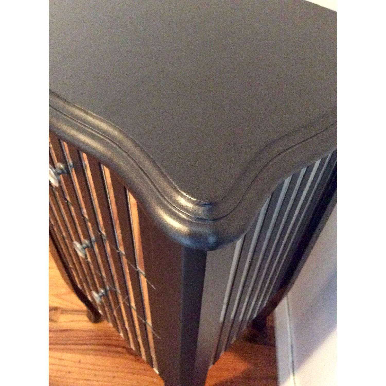 Oriel 3-Drawer Grey Mirror Striped Side Table - image-2
