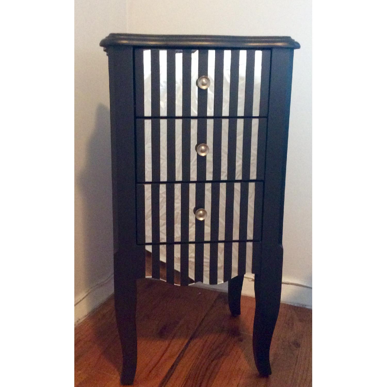 Oriel 3-Drawer Grey Mirror Striped Side Table - image-4