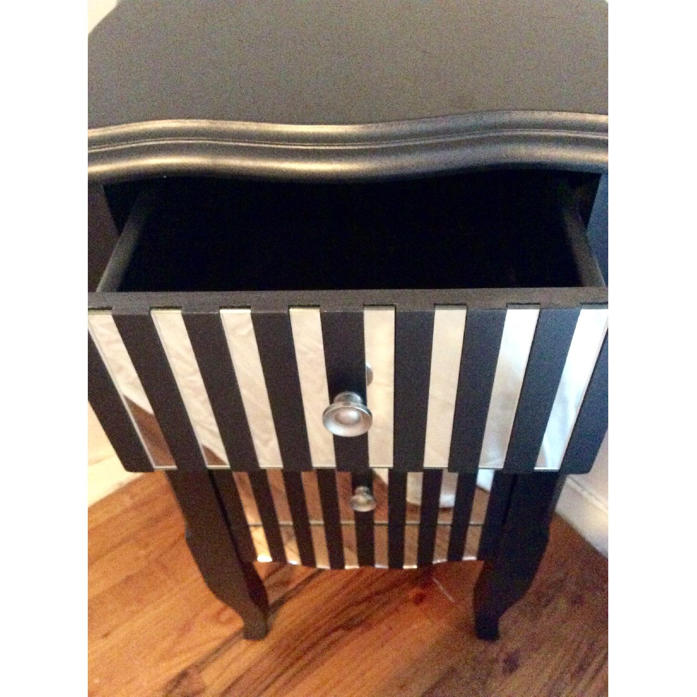 Oriel 3-Drawer Grey Mirror Striped Side Table - image-5