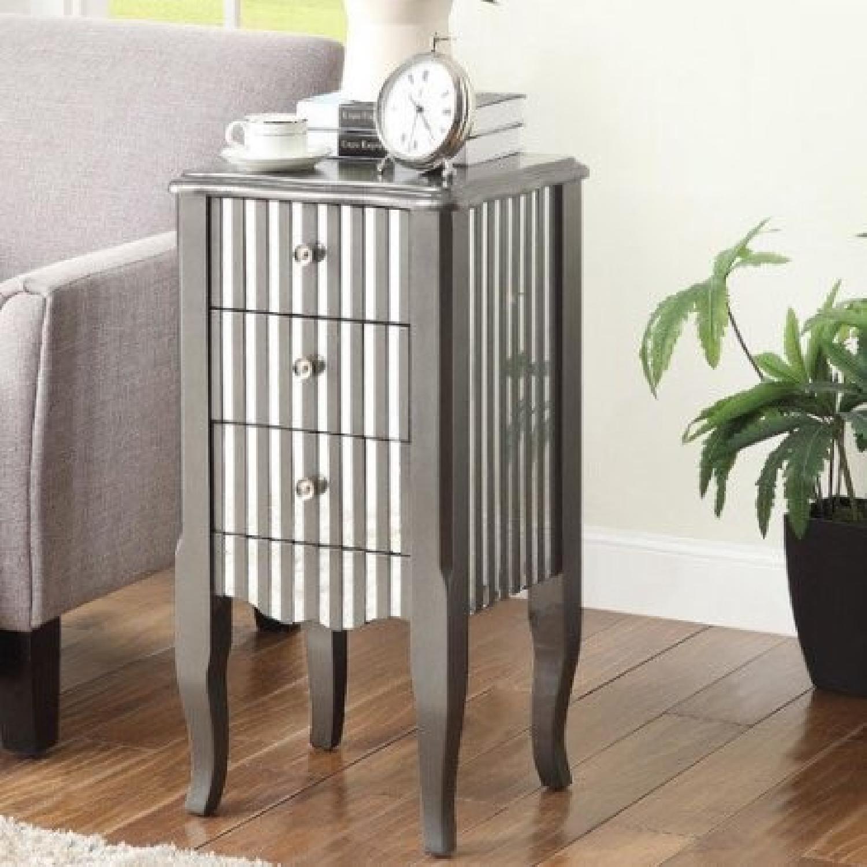 Oriel 3-Drawer Grey Mirror Striped Side Table - image-8