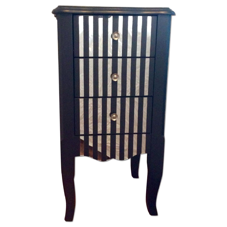 Oriel 3-Drawer Grey Mirror Striped Side Table - image-0
