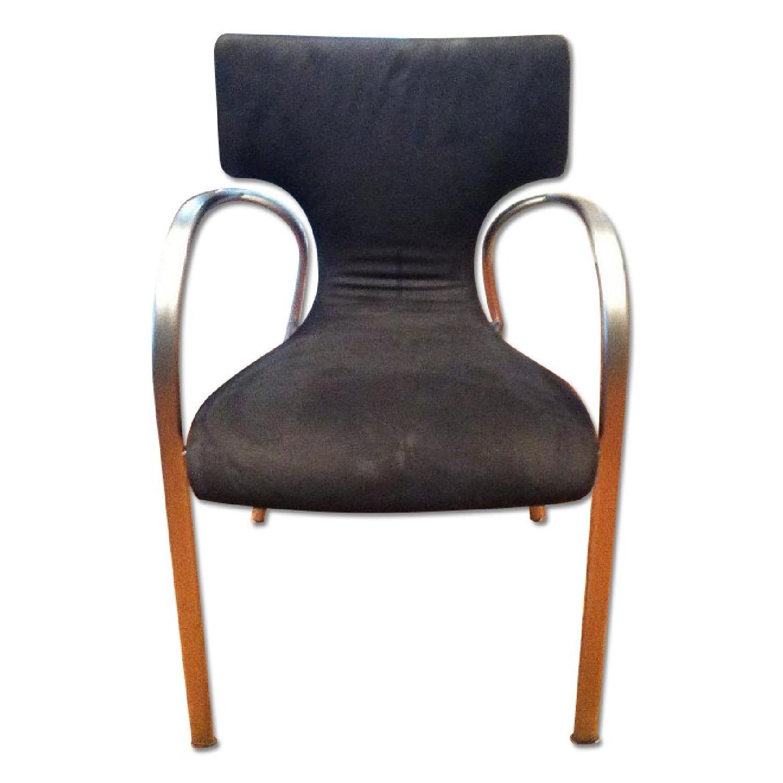 Suede & Aluminum Chair - image-0