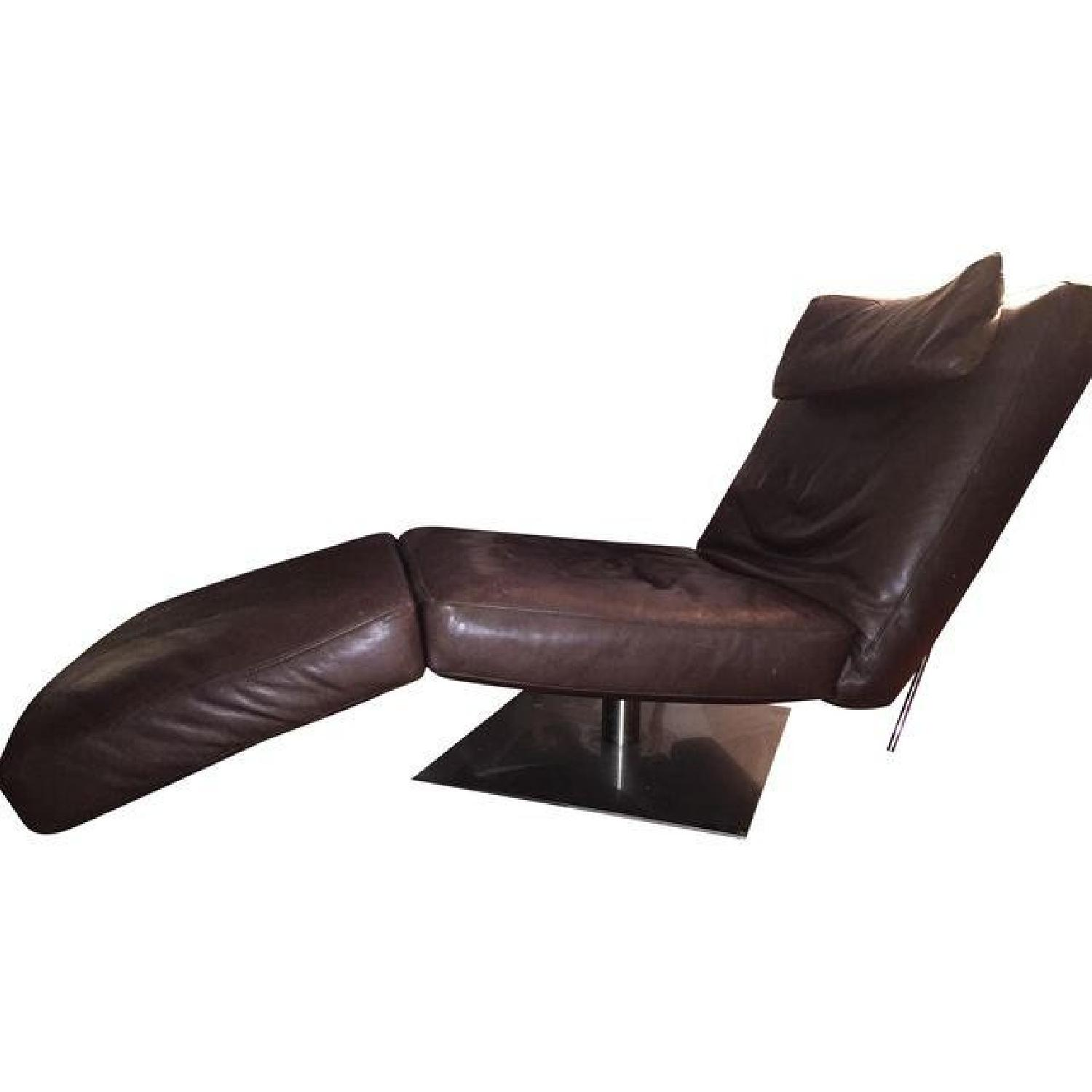 Natuzzi Zeta Brown Leather Chaise - image-0
