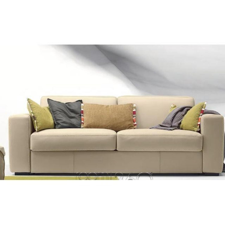 Capri Italian Leather Sleeper Sofa - image-5