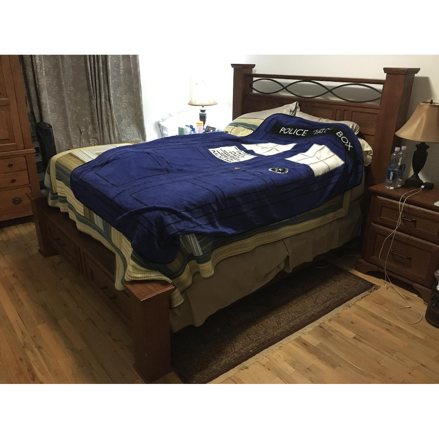 Raymour & Flanigan Queen Size Wooden Storage Bed Frame + 2 Nightstands - image-2