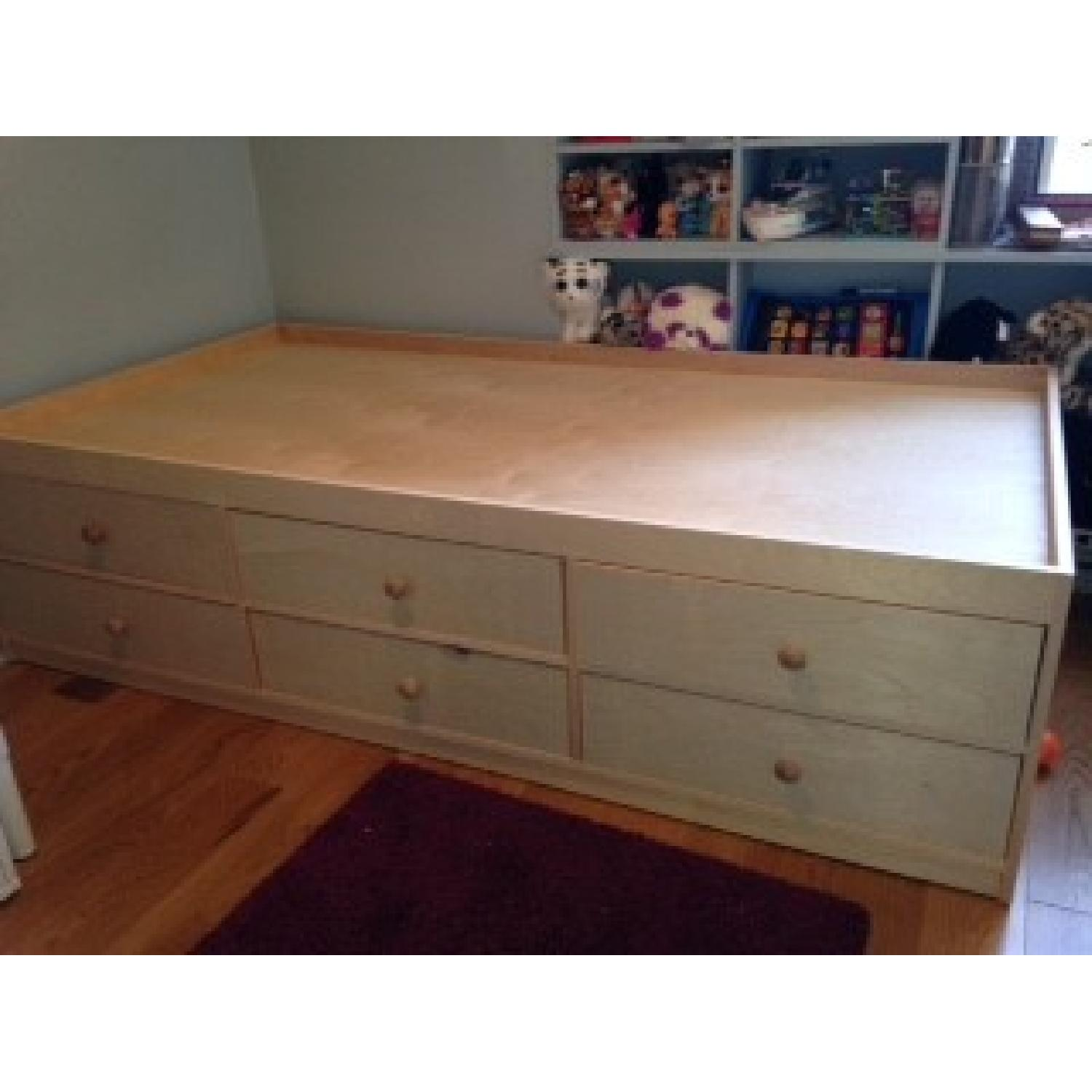 Twin Size Bed Frame w/ 6 Storage Drawers - image-2