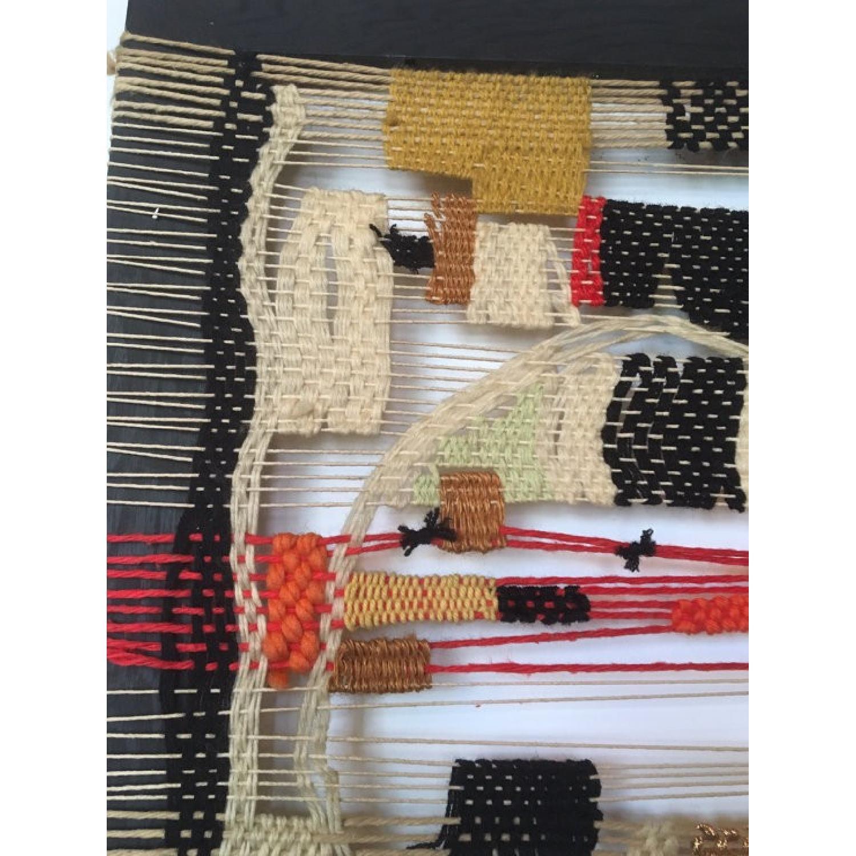 Vintage 70s Handmade Mounted Wall Weaving - image-3