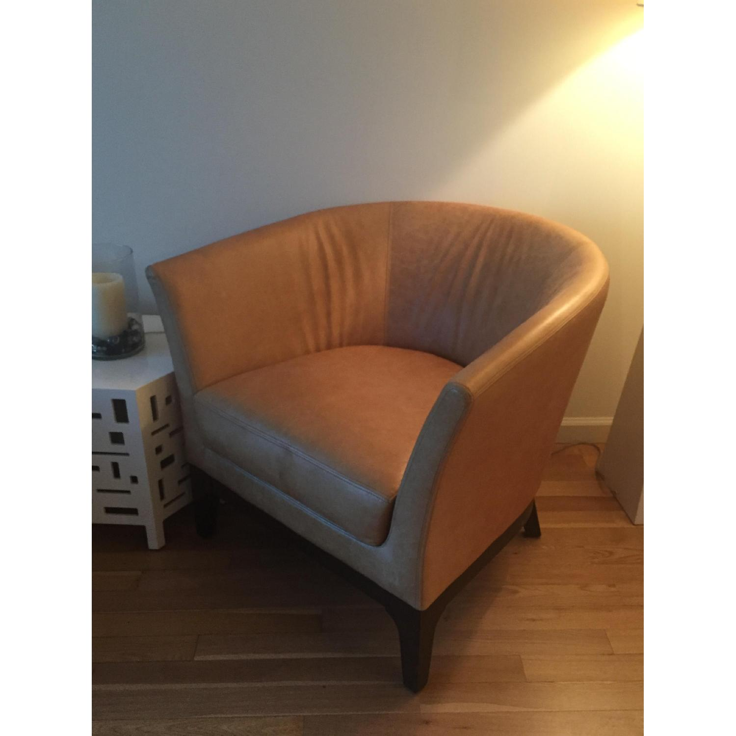 West Elm Leather Tulip Chair - image-2