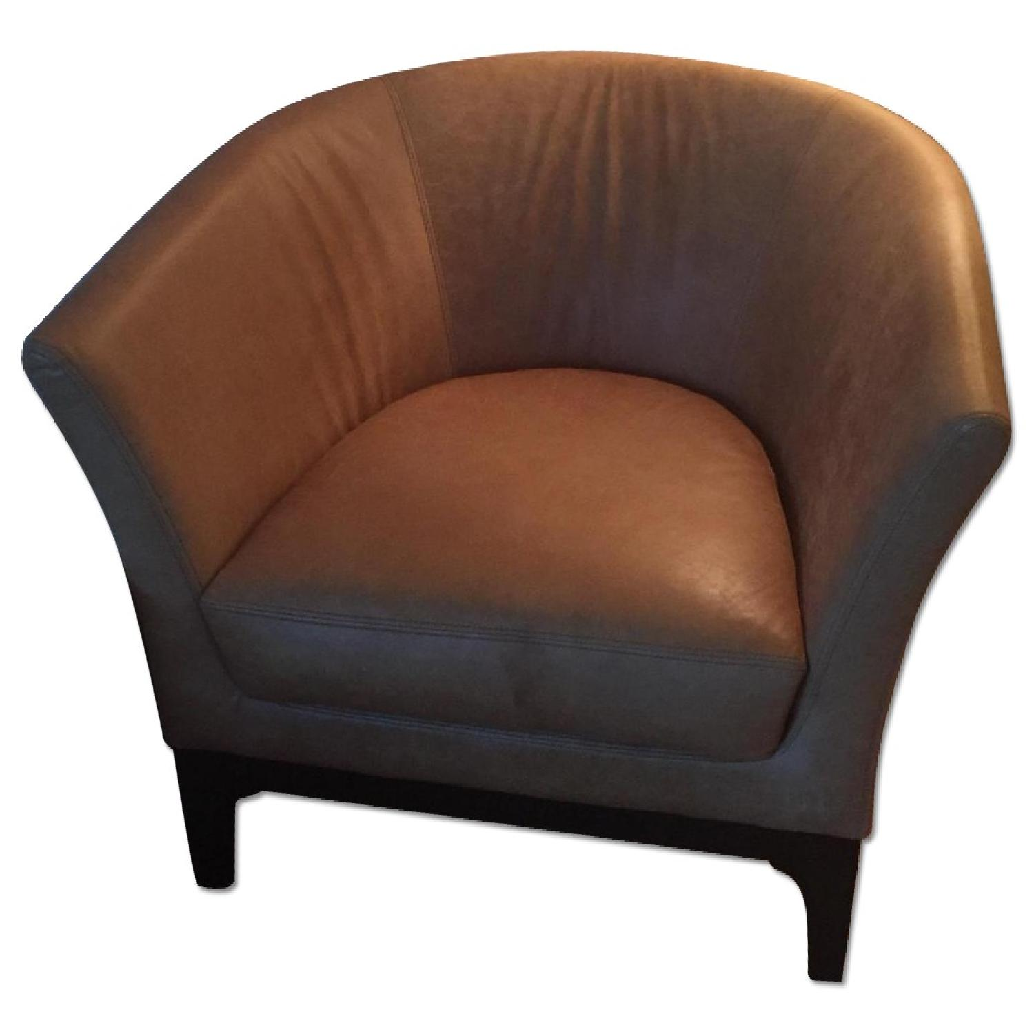 West Elm Leather Tulip Chair - image-0