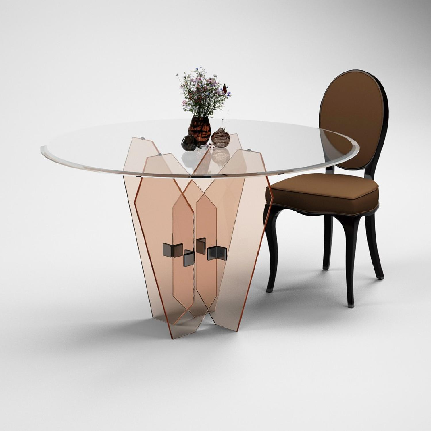 Fancy Glass & Mirrors Vega Round Glass Dining Table - image-0