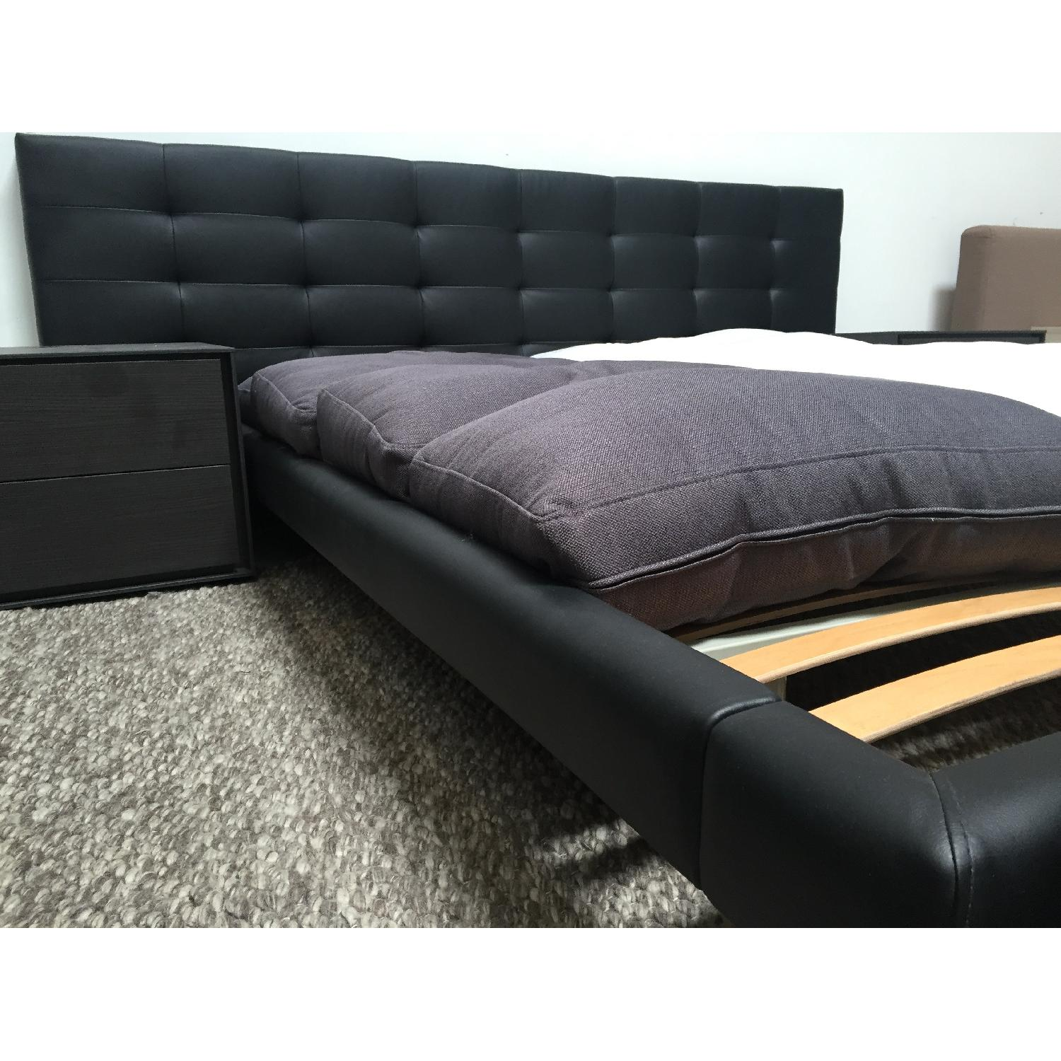 Lazzoni Black Leather Queen Size Bed Frame - image-4