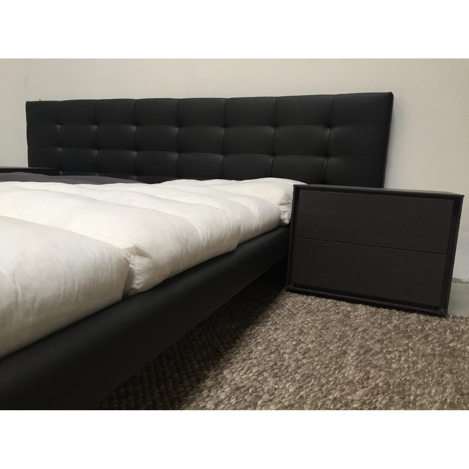 Lazzoni Black Leather Queen Size Bed Frame - image-10