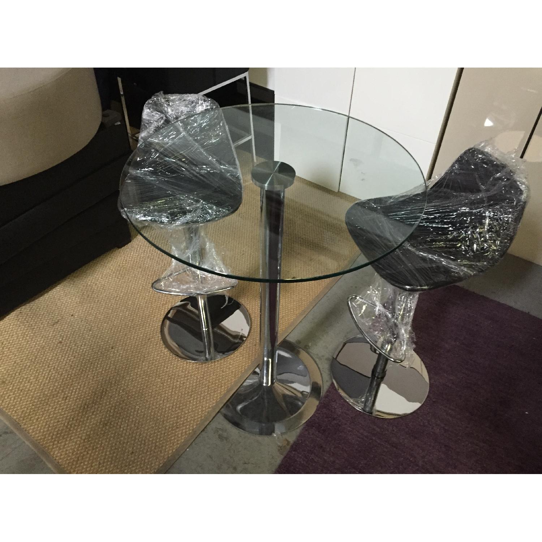 Lazzoni Chrome Based Table w/ 2 Piston Adjustable Chairs - image-2