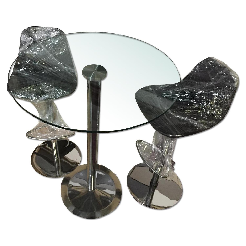 Lazzoni Chrome Based Table w/ 2 Piston Adjustable Chairs - image-0