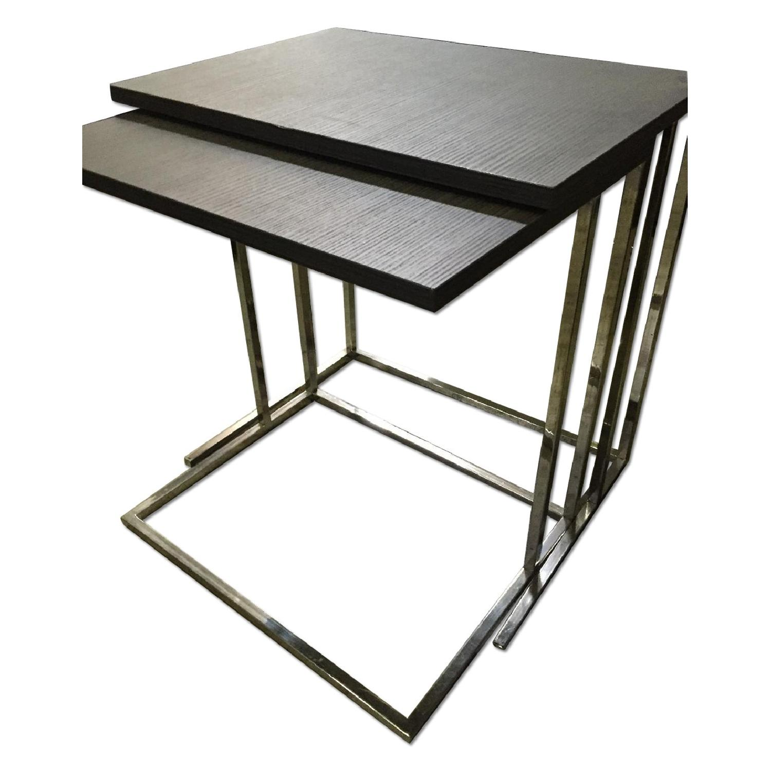 Lazzoni Brown Wood Nesting Tables - image-0