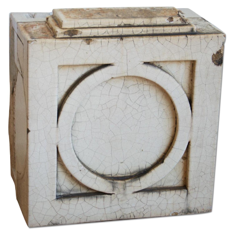 Antique Architecture Savage White Glazed Terra Cotta Block - image-0