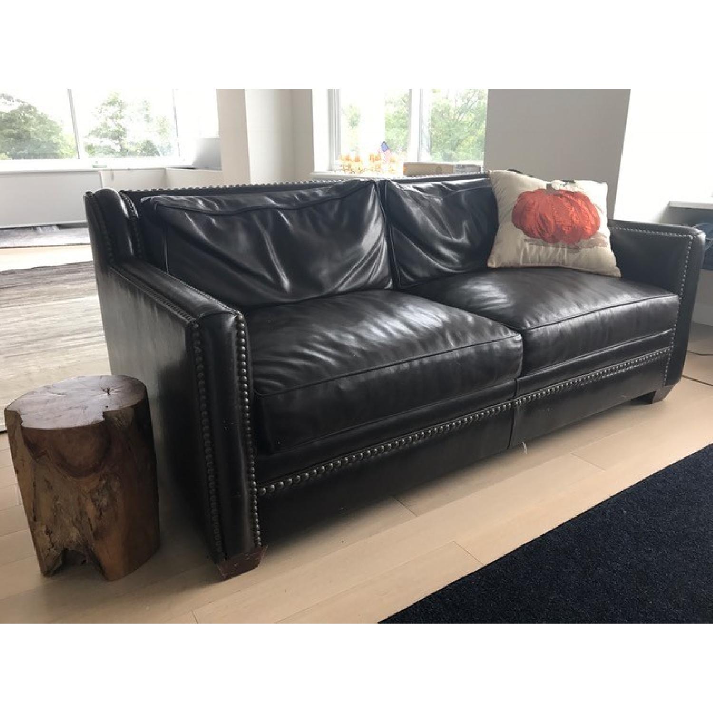Horchow Leather Sleeper Sofa w/ Nailheads - image-1