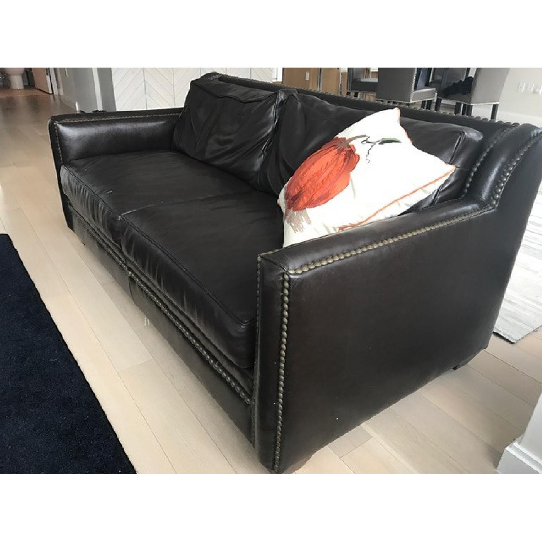 Horchow Leather Sleeper Sofa w/ Nailheads - image-2