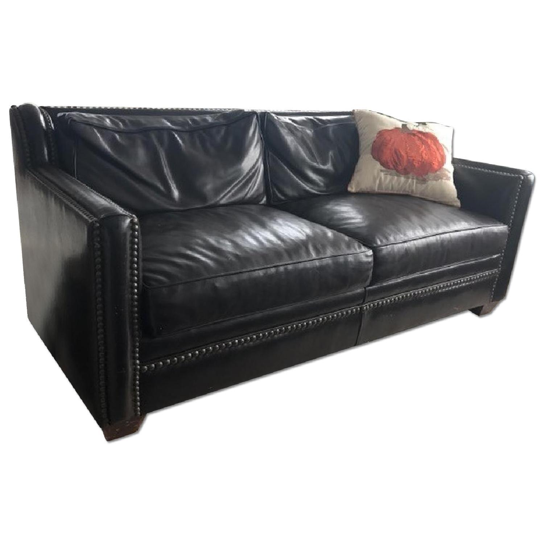 Horchow Leather Sleeper Sofa w/ Nailheads - image-0