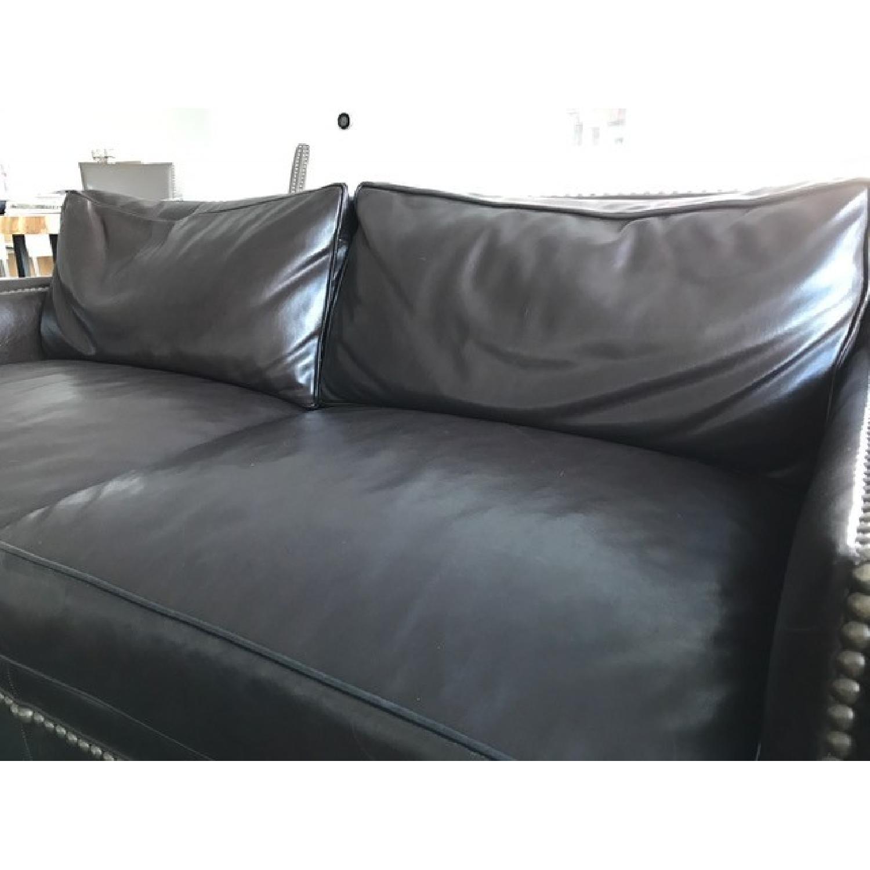 Horchow Leather Sleeper Sofa w/ Nailheads - image-4
